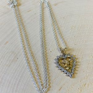 Jewelry - 10k Gold Vintage Angel Heart Necklace